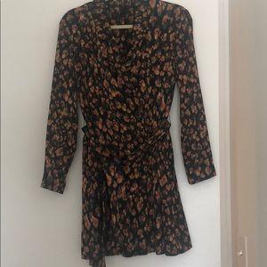 Zara satin double breasted blazer dress